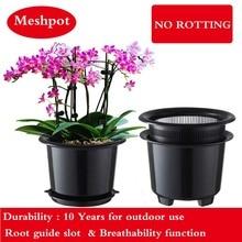 Meshpot 8 inç plastik orkide saksı çiçeği Pot bahçe Pot ekici tutucu ev dekorasyonu, geliştirmek kök miktar ve etkinlik iyi hava