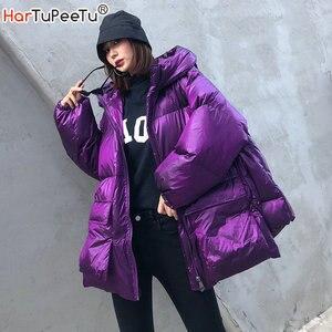 Image 1 - Зимняя плотная женская куртка с хлопковой подкладкой, теплая свободная парка для девочек с капюшоном, женское пальто с большими карманами, короткая стильная асимметричная подкладка