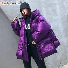 Inverno grosso jaqueta feminina algodão acolchoado quente meninas solto ajuste com capuz parka feminino grandes bolsos casaco curto estilo irregular hem