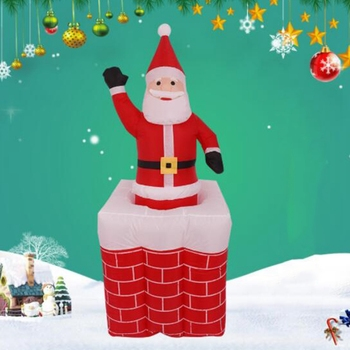 1.6M LED Airblown Inflatable Animated Santa Rises From Chimney Up and Down Outdoor Layout Christmas Decor Figure Kids Classic To