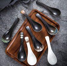 1 pçs criativo japonês colher de cerâmica cozinha cozinhar utensílio saudável estilo retro ferramenta sopa colher de chá catering para kicthen