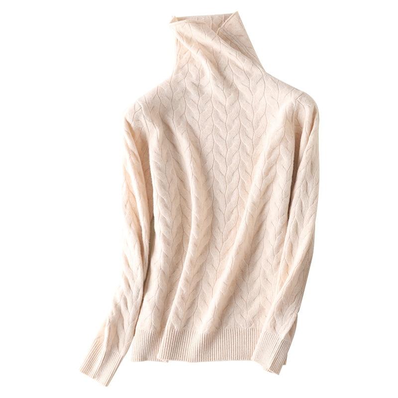 Новый тренд шерстяной свитер с ворсом и воротником женский вязаный