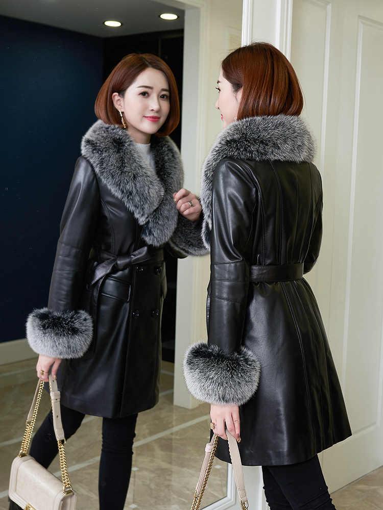 リアル Leater ジャケット冬コート女性のキツネの毛皮 Colall ロングダウンジャケットの女性の服 2019 ファッション本羊コート私