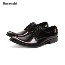Batzuzhi New Arrival Men's Shoes Pointed Toe Genuine Leather Dress Shoes Men for Business, Party and Wedding Zapatos Hombre heinrich the new listing brand luxury genuine leather men shoes pointed toe hasp male wedding dress shoes zapatos de hombre