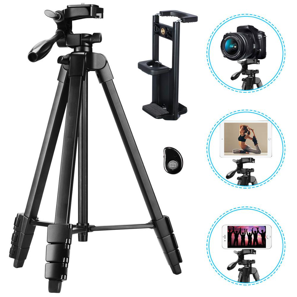 Phone Tripod 60-Inch with 2 in 1 Mount Holder & remote control for iphone/ipad/Gopro/DSLR Camera, with Carry Bag for Travel