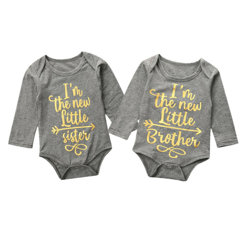Newborn Boy Baby Girl Bodysuit Letter Print Long Sleeve Tops Round Neck Newborn Clothes Twin Baby Clothing Body Infantil
