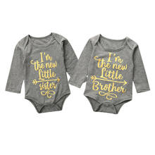Newborn Boy Baby Girl Bodysuit Letter Print Long Sleeve Tops Round Neck Newborn Clothes Twin Baby Clothing Body Infantil(China)