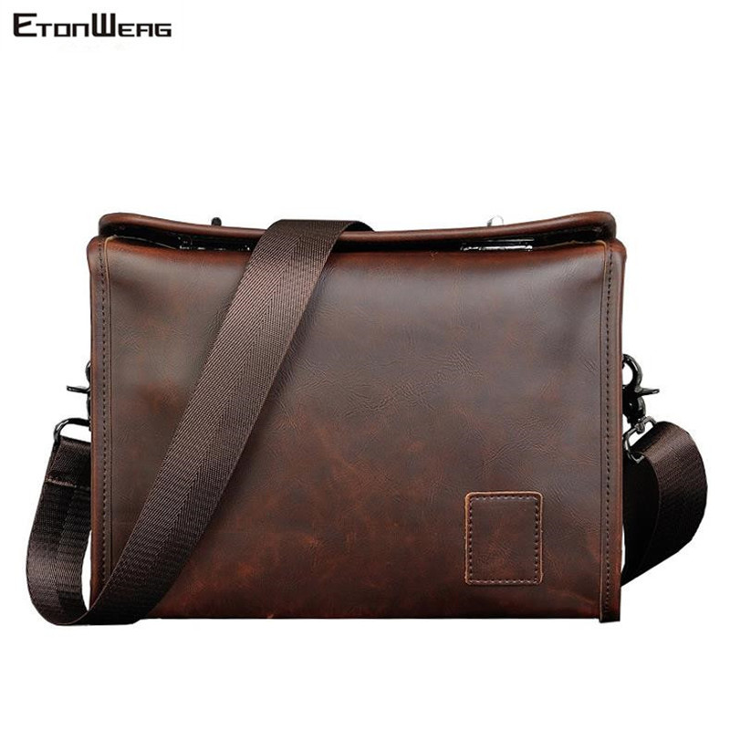 Men's Business Office Briefcase Box Waterproof PU Leather Messenger Bag Women Vintage Solid Shoulder Bag Man File Crossbody Bags