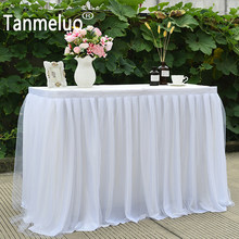 Tulle table skirt for baby shower chiffon gauze bridal veil table skirting party wedding home decoration birthday party(China)