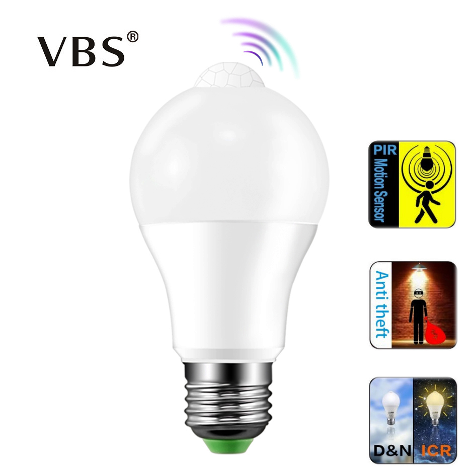 E27 B22 Automatic Activated By Movement Security LED Bulb Lamp E26 Base 12W 18W Indoor /Outdoor Sensor Day And Night Lights