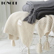 TONGDI Soft Warm Fashionable Lace Fringed Knitting Wool Blanket Luxury Pretty Gift For Girl All Season Handmade Sleeping Bag