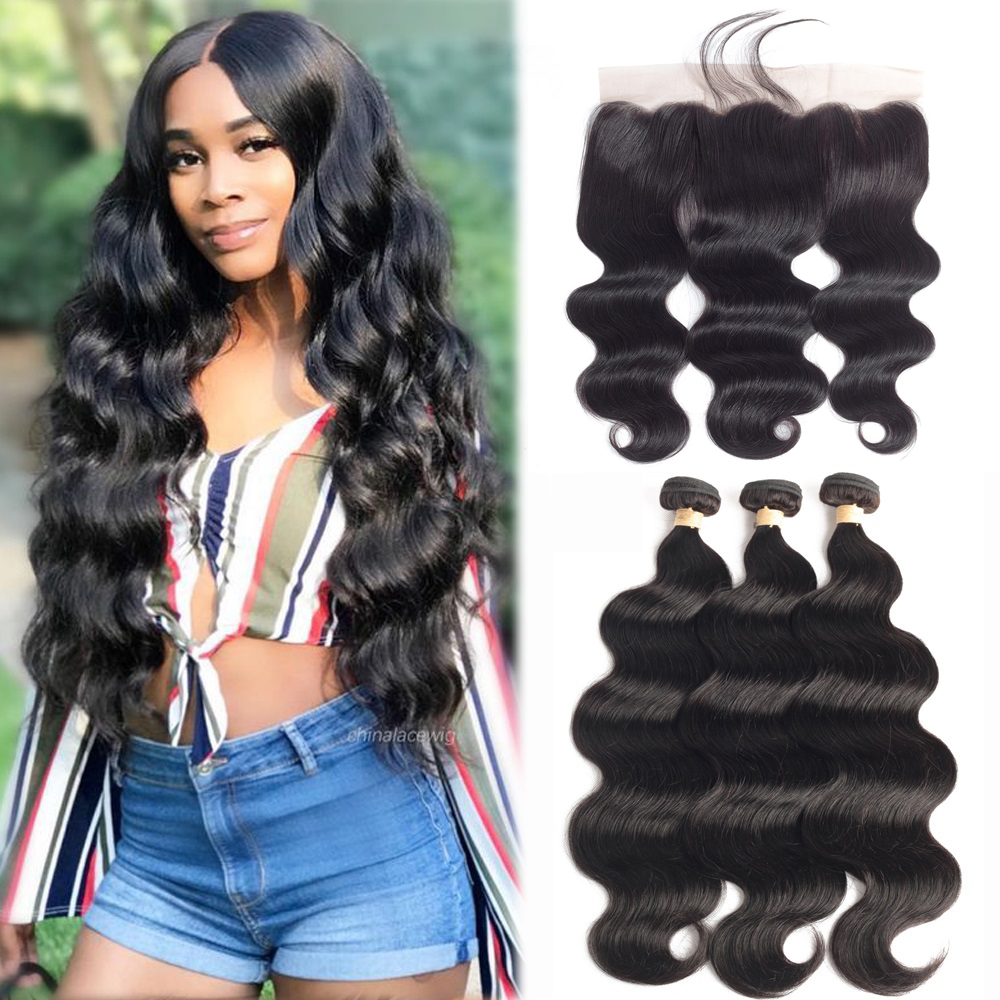 BEAUDIVA Brazilian Hair Weave Bundles Body Wave Bundles With Frontal Human Hair 3 Bundles With Closure Frontal Hair Extension