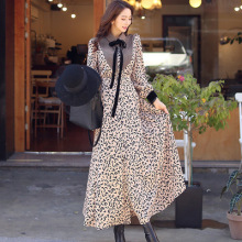Winter new Korean style leopard-print single-breasted belt with bow-tie swing dress cartoon print dress with belt