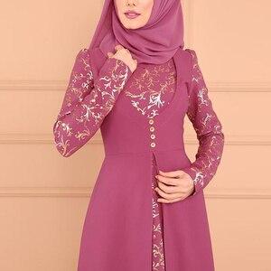 Image 5 - MISSJOY Musulmano Abaya Stampa Floreale Split Elegante Donne Abito Da Dubai casual Caftano Turco Vintage Kimono Abbigliamento Islamico Платье