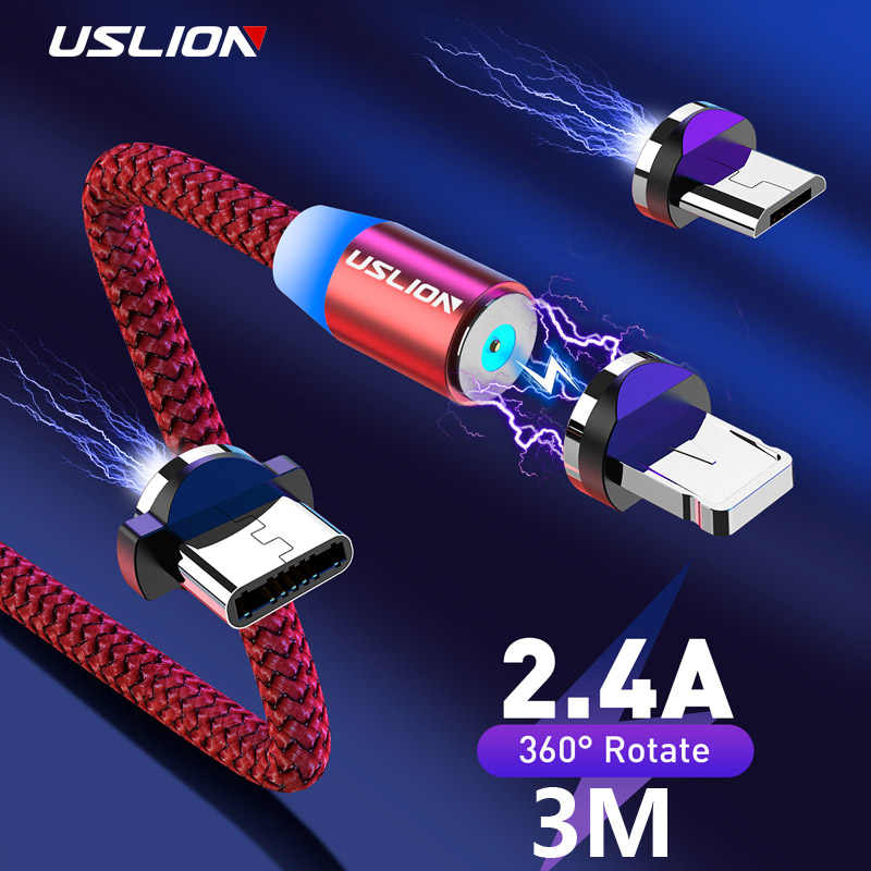 USLION 3M LED Magnetic USB Cable Charging USB For Micro USB Type C Charger For iPhone 11 Pro Max Android Phone Cable USB Cord