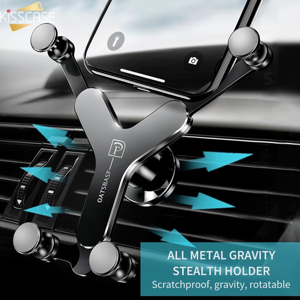 Kisscase metal gravidade titular do carro para o iphone xsmax 6 y-tipo de montagem do carro suporte do telefone suporte do carro para samsung s8 telefon tucu