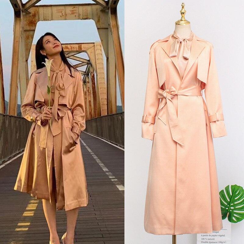 Korean IU DEL LUNA Hotel Long   Trench   Coat Female Fashion Women's Raincoat 2019 Autumn Women Windbreaker Woman Clothes Shirt moda feminina YQ406