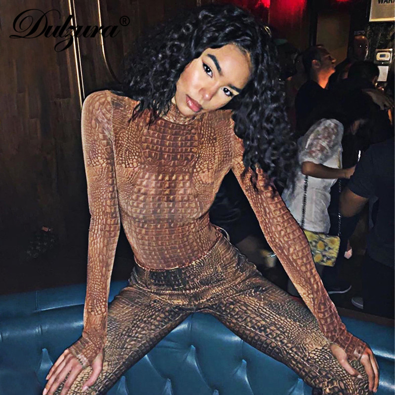 Dulzura 2019 Autumn Winter Women Bodysuit Crocodile Print Sexy Bodycon Streetwear Festival Clothing Streetwear Body Romper Basic