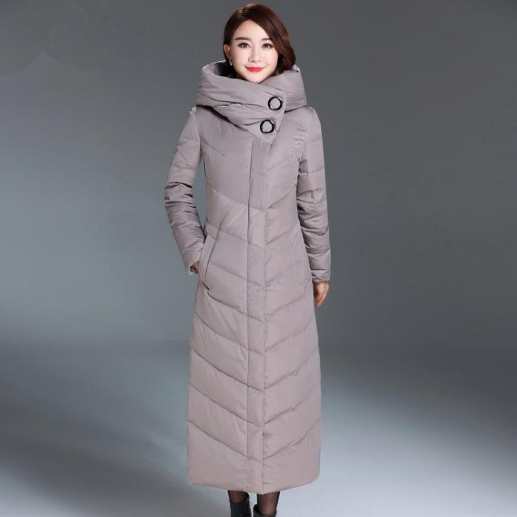 Down Winter 2020 Jacket Female Slim Warm Coat Hooded X-Long Jackets For Women Parka Thick Outerwear Manteau Femme WYQ813 S