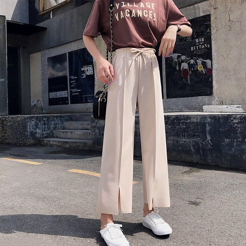 Pendant Sense Loose Pants Women's Slimming Slit Capri Pants Loose-Fit High-waisted Drape Straight-Cut Chiffon Pants Thin Summer