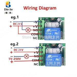 Image 4 - 433 433mhzのユニバーサルrfリモコンdc 24v 1CHリレー受信機モジュールガレージ/ドア/ライト/led/送風機/モーター/信号伝送