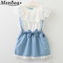 2015 New girls cute dress,white princess belt denim dress sleeveless cotton summer dress lovely baby girls clothes 2-7 Years