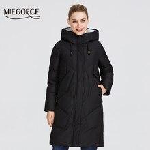 Miegofce 2019 feminino inverno parka femme windpro casaco com gola e capuz que irá proteger do frio jaqueta feminina