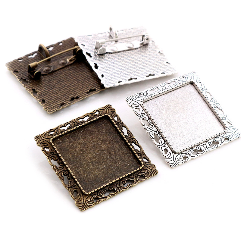 New Fashion 5pcs 25mm Inner Size Antique Silver Plated Bronze Brooch Square Cabochon Base Setting