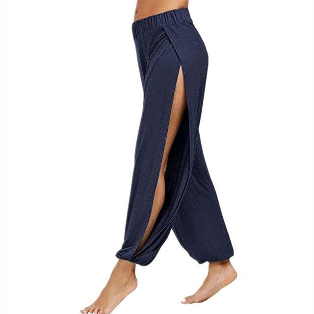 Merry Pretty Summer High Slit Haren Pants Women Solid Hippie Harem Wide Leg Pants Trousers S-3XL 3