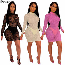 Dower Me Full Sleeve Halter Collar  Summer Dress Illusion Solid Above Knee Sexy Dresses Party Night Club 2019 NZ130