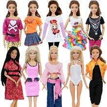 5 комплектов, модная одежда ручной работы, повседневная одежда, блузка, рубашка, жилет, штаны, юбка, Одежда для куклы Барби, аксессуары