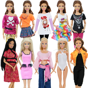 5 set Handmade Fashion Outfit Daily Casual Wear Blouse Shirt Vest Bottom Pants Skirt Clothes For Barbie Doll Accessories Toy(China)