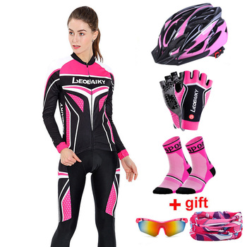 Autumn Long Sleeve Women Cycling Clothing MTB Pro Team Jersey Bike Riding Suit Breathable Bicycle Clothes Ladies Cycling Sets blue cycling women set long sleeve women bike clothing winter ropa ciclismo cycling jerseys suit pink bicycle riding clothes