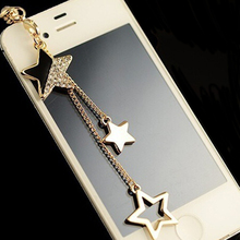 Star Pendant Chain Headphones Dustproof Plug Caps Cell Phone Accessories 3.5mm E