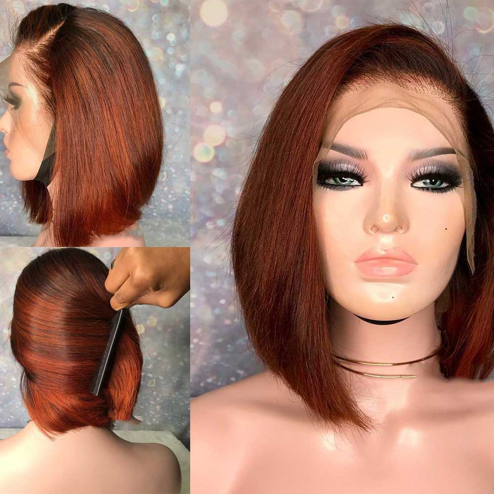 Straight 13x6 Lace Front Human Hair Wig Pre Plucked Brazilian Remy Short Bob Orange Red Colored Wig 150 Density For Black Women