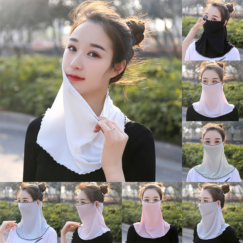 Sun UV Protection Ice Silk Neck Face Cover For Breathable Cycling Mouth Mask Wome Dust-proof Face Masks High Quality Hot Sale