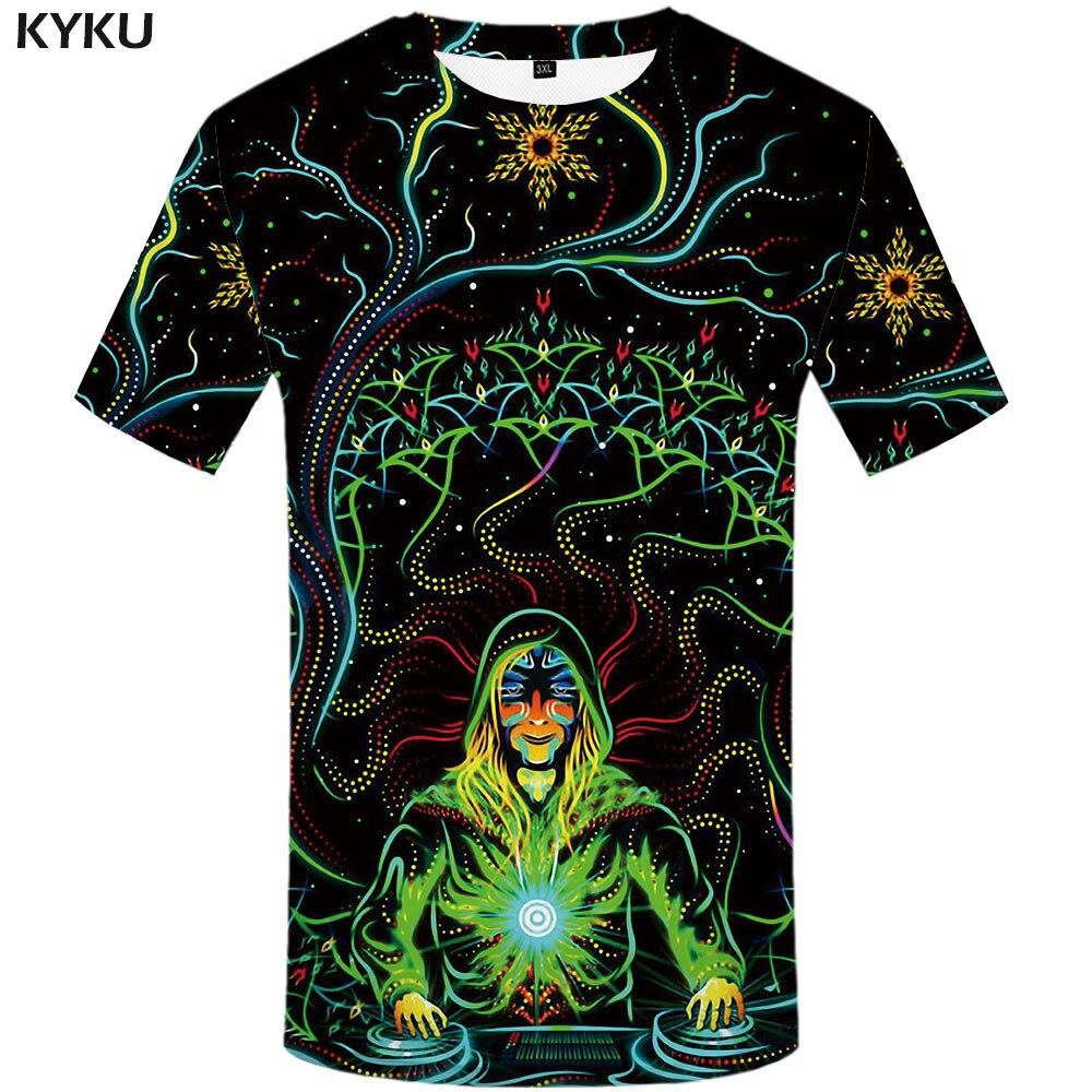 KYKU Brand Galaxy T Shirt Men Psychedelic Tshirts Casual Colorful Anime Clothes Music Tshirt Printed Gothic T-shirts 3d