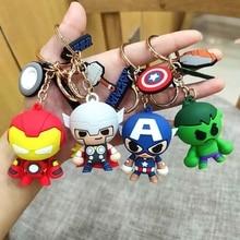Disney Marvel Avengers Hero Action Figure Keychain Anime Cartoon Spiderman Iron Man Model Captain America Keyring Kids Girl Toy