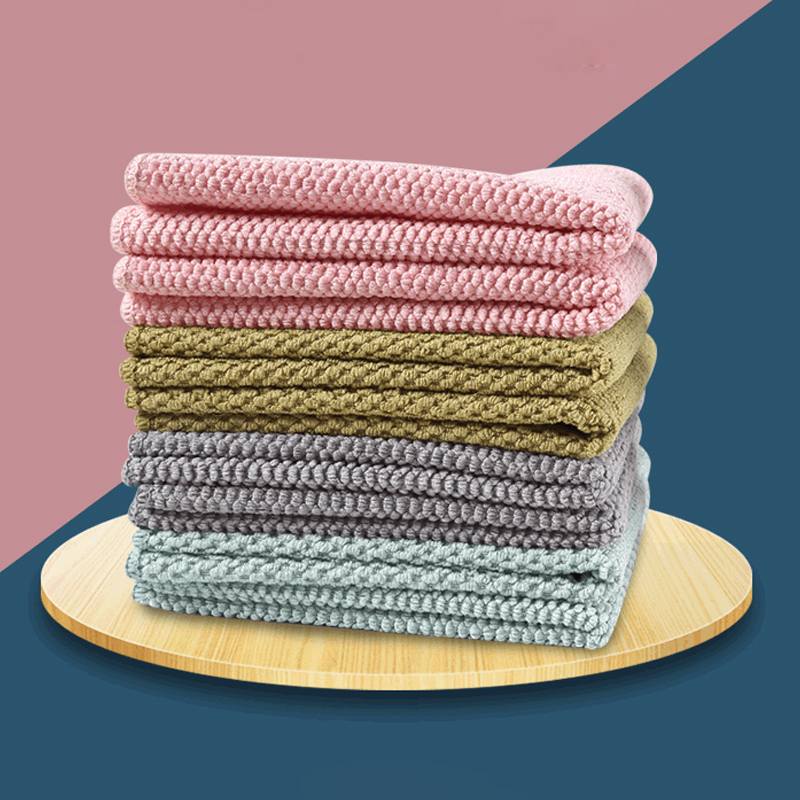 1Pcs Washing Dish Towel Microfiber for Household Cleaning Cloth Wiping Rags 4Colors Kitchen Supplies Anti-grease