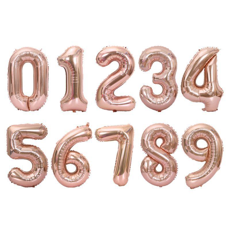 40 pulgadas globo de papel de aluminio grande número de globo de papel de aluminio Rosa oro plata Digital fiesta de cumpleaños decoración piscinas flotador