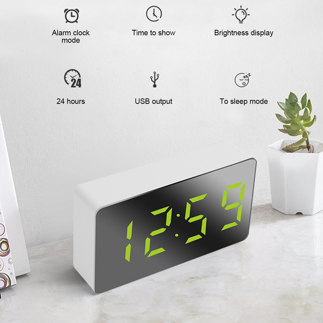 LED Mirror Digital Clock Alarm Clock Snooze Table Clock Wake Up Mute Calendar Dimmable Electronic Desktop Clocks Home Decoration 2