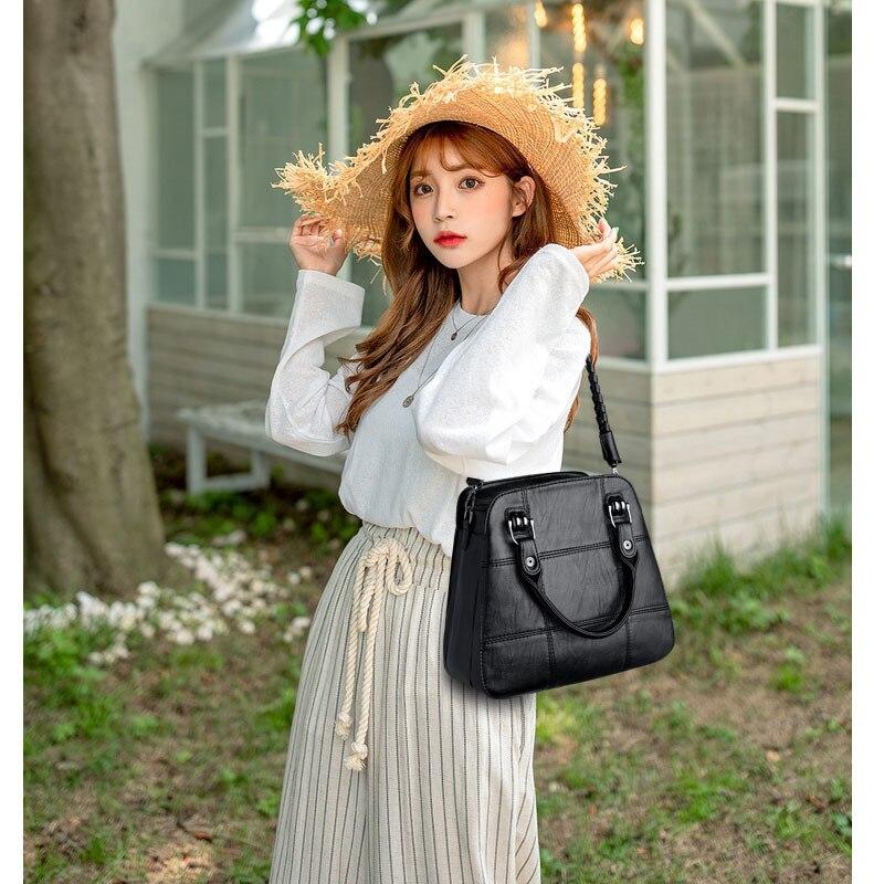 Image 5 - Black Paid Women Casual Totes Bag Female Handbags Large Big Size  Woman Shoulder Bag for Ladies Vintage Genuine Leather Hand  BagsTop-Handle Bags