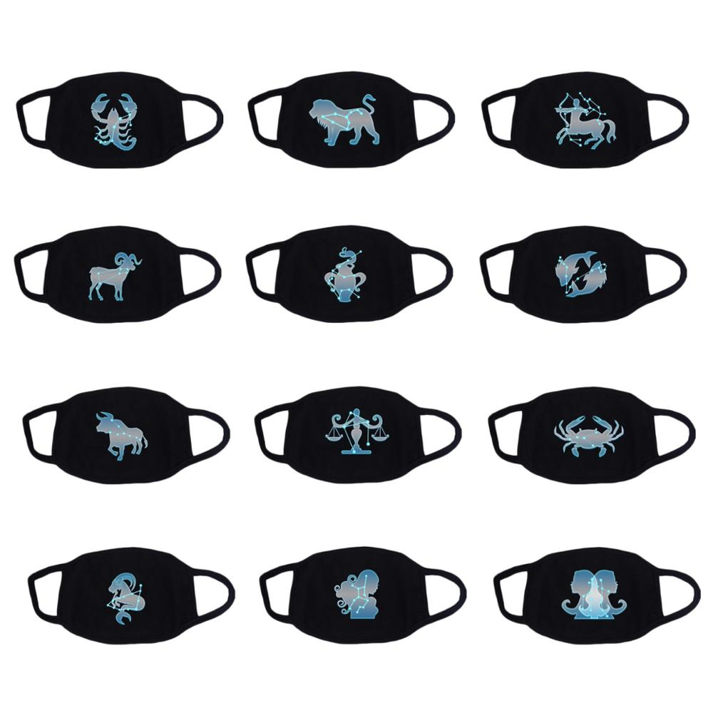 12 Constellation Mask Star Zodiac Sign Recycle Cotton Masks Fluorescence Light