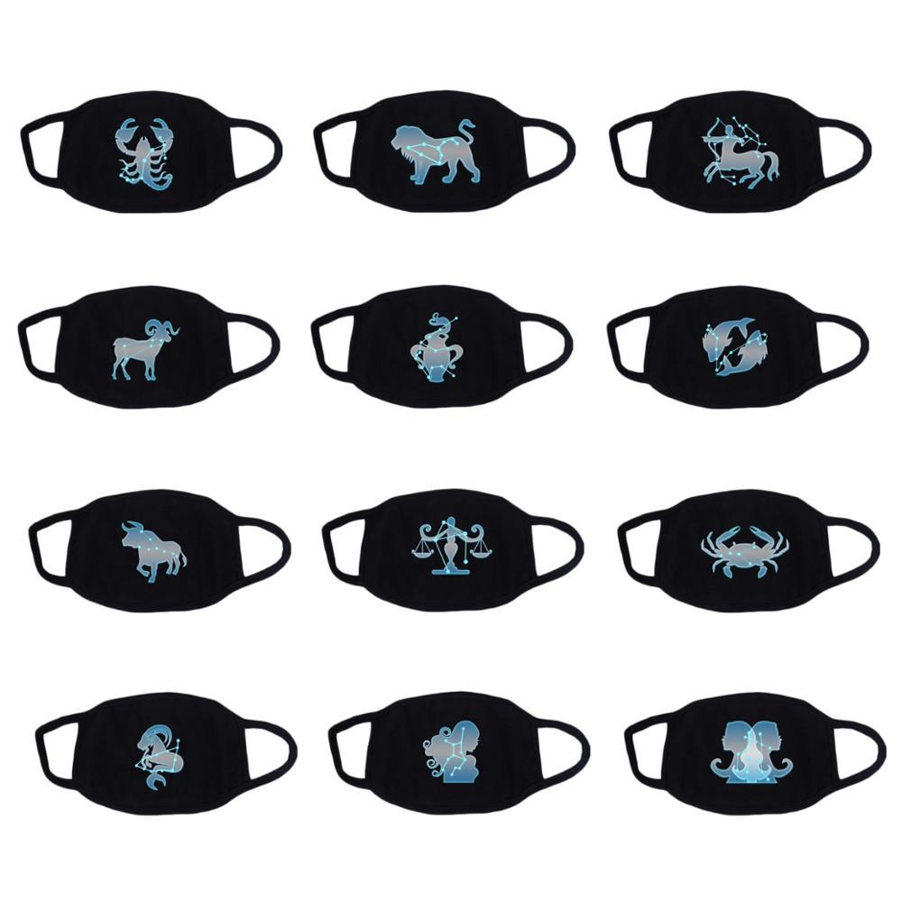 12 Constellation Mask Star Zodiac Sign Recycle Cotton Masks Fluorescence Light
