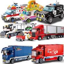 Городской автомобиль совместимый подарки контейнер грузовик