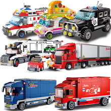 City Vehicle Compatible Car gifts Container Truck Trailer Wagon Van Lorry Dump Truck Police Model Building Blocks kids Toys double acting hydraulic pump 12v dump trailer 3 quart plastic reservoir for dump trailer