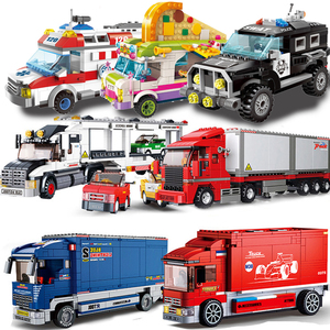City Vehicle Compatible Car gifts Container Truck Trailer Wagon Van Lorry Dump Truck Police Model Building Blocks kids Toys