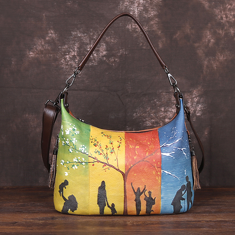 High Quality Natural Skin Women Crossbody Messenger Shoulder Bags Tassel  Handbag Printing Bags Female Genuine Leather Tote Bag
