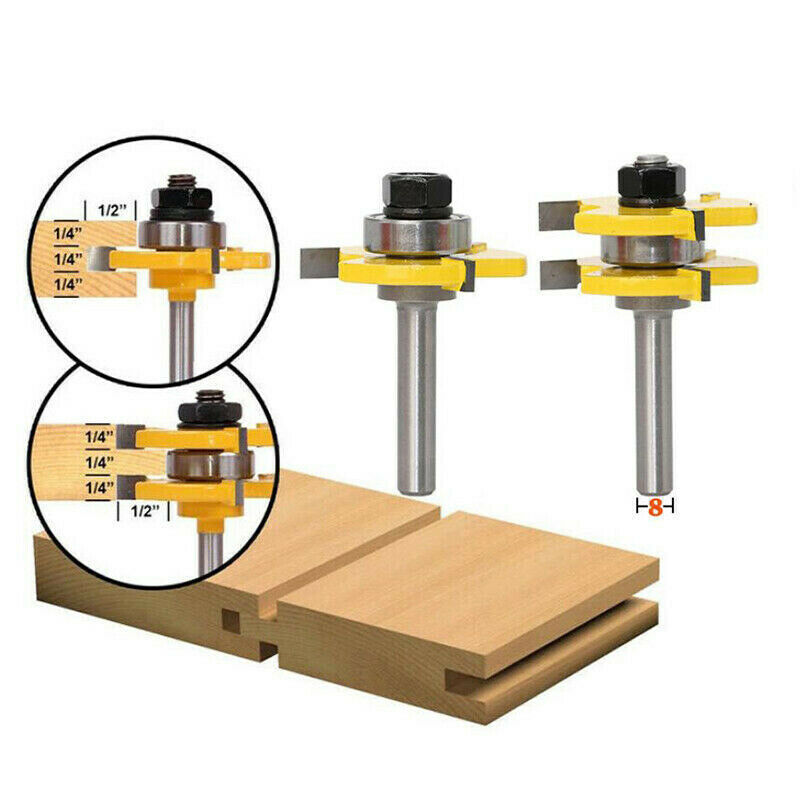 2pcs 3-tooth T-type Mortise Cutter 8mm Shank Tongue & Groove Router Bit Set Woodwoorking Grove Tool Parts