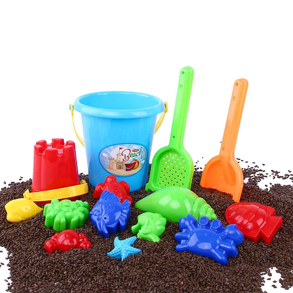 Kids Sand Beach Toys Plastic Castle Bucket Spade Rake Fish Mold Play Tool Set Castle Building Tool